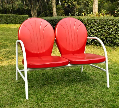 Crosley Furniture Griffith Metal Outdoor Loveseat   Red. Home Trends Patio Furniture  Amazon com