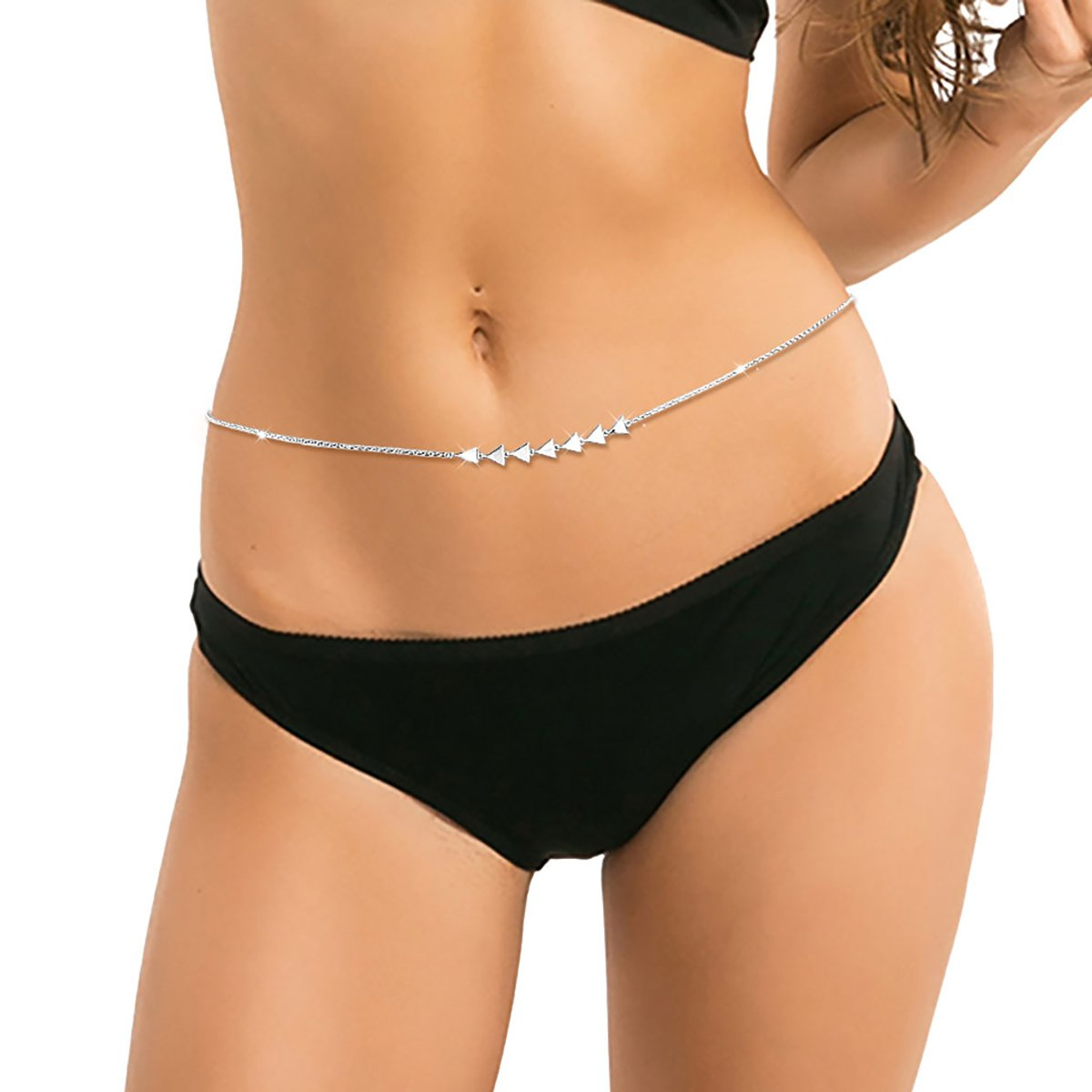 SILVER MOUNTAIN S925 Sterling Silver Sexy Waist Belt Belly Chain Adjustable Body Chain (Triangle)