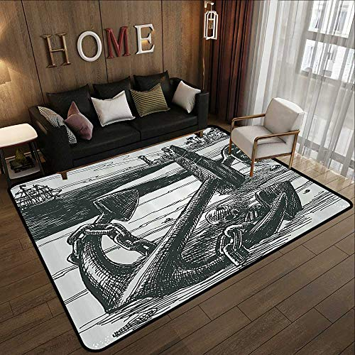 (Bathroom Rugs,Anchor Decor Collection,Anchor with Skull by Island Shoreline Ship Palm Trees Pirate Horror Fear Illustration Image,Dimg 71