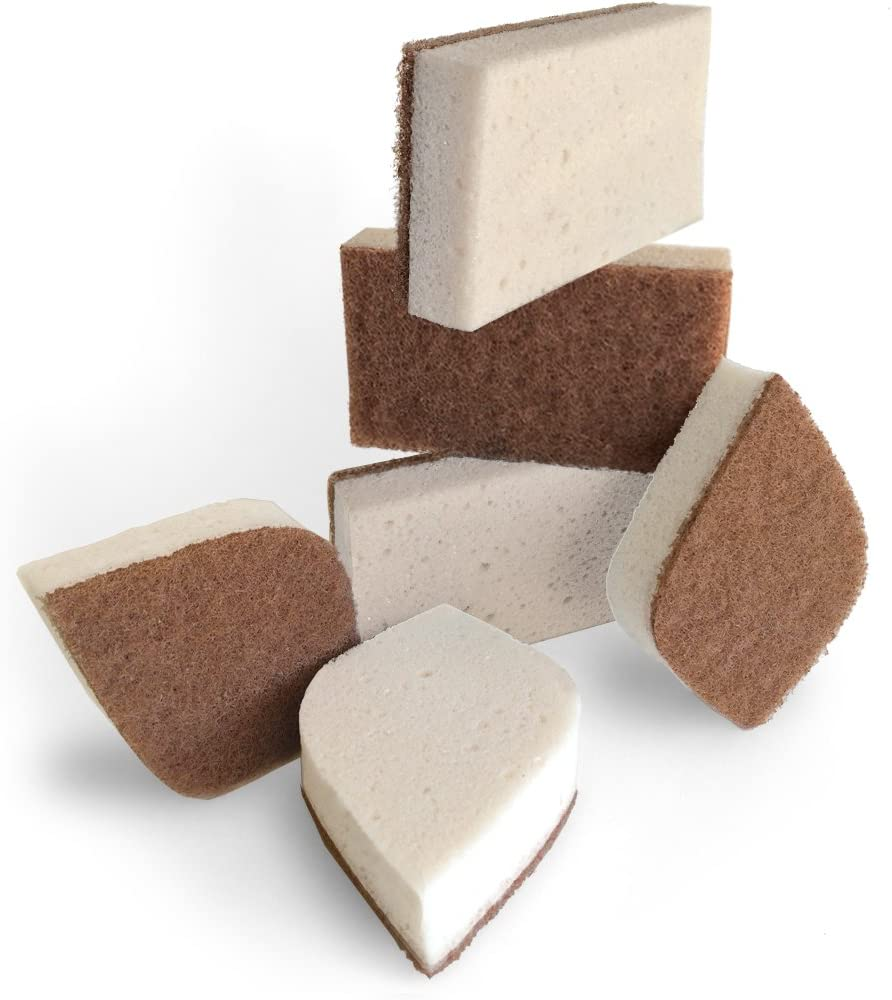Amazon.com: Pura Naturals Stink Free Sponge. Stay Fresh NO Odor Guarantee!  Eco Kitchen / Household / Dish Sponges w/Walnut Scrubbers. 40x More  Durable. (6): Health & Personal Care