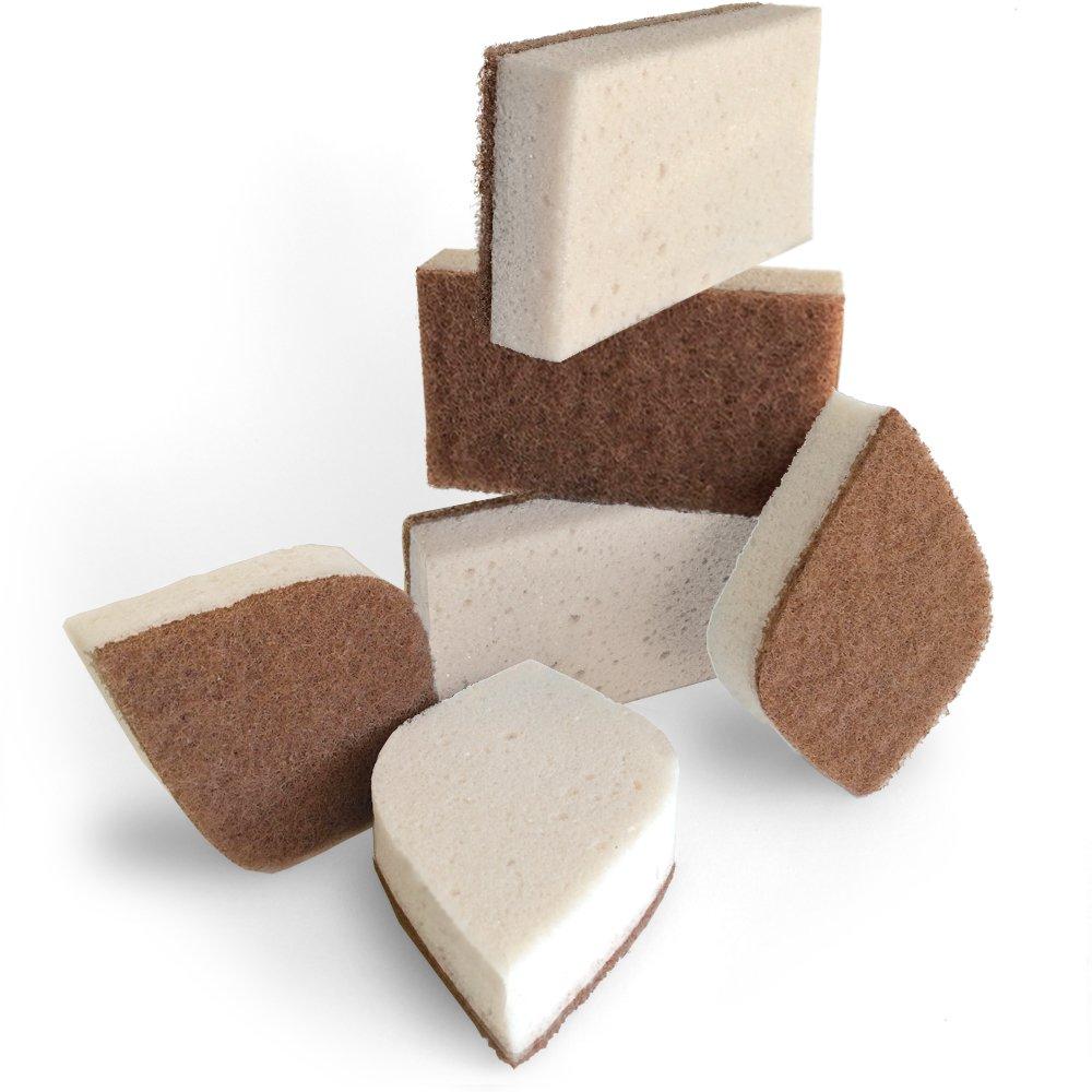 Pura Naturals Stink Free Sponge. Inhibit Bacteria. Stay Fresh NO ODOR Guarantee! Eco Kitchen/Household / Dish Sponges w/Walnut Scrubbers. 40x more durable. (6) 3936342