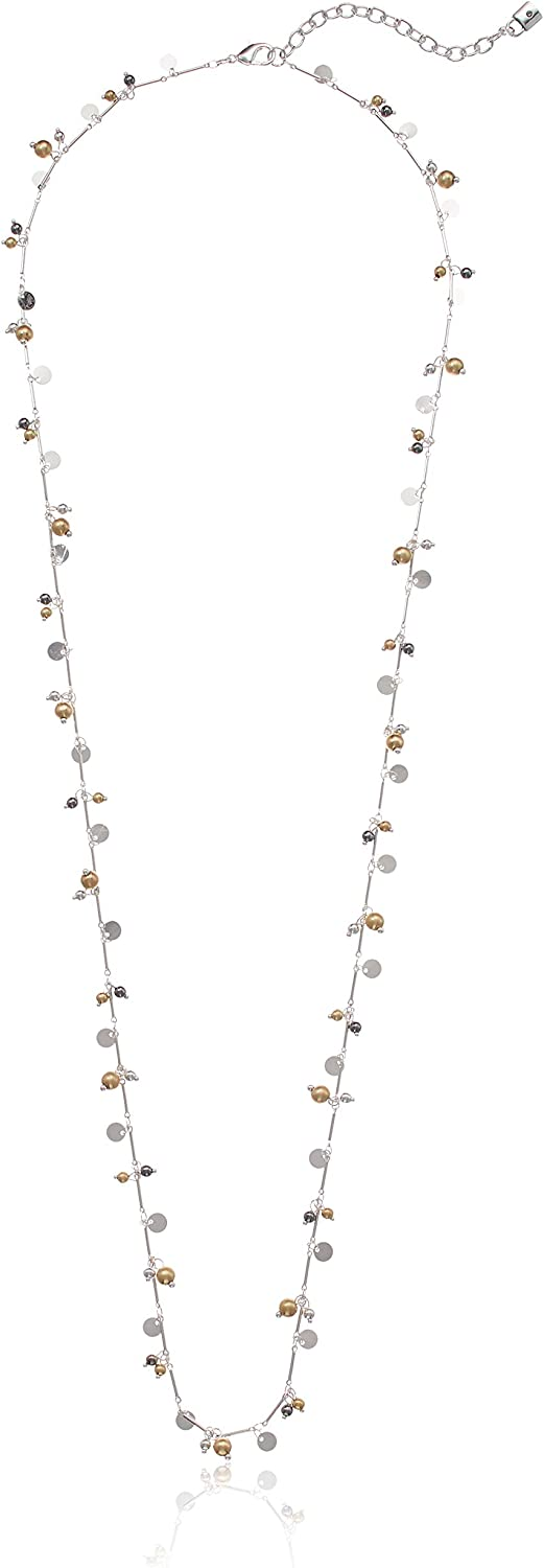 One Size Chaps Womens Tritone 36in Shaky Strand Necklace