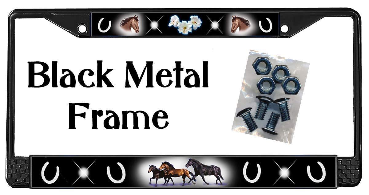 Horses Dark Blue Backdrop License Plate Frame Gifts Polished Metal /& Screws TXT
