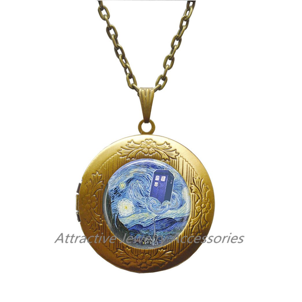 Starry Night Locket Necklace,Art Locket Pendant,artist jewelry impressionist art lover gift,QK023