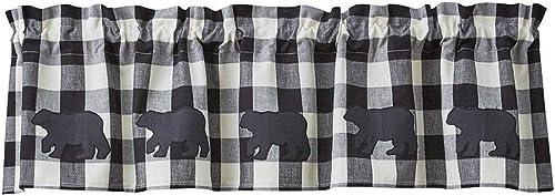 Park Designs Buffalo Check Bear Applique Valance 14 L – Black Cream