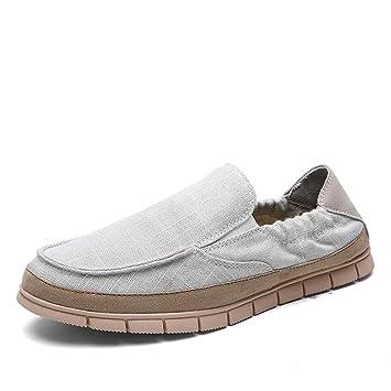 DADIJIER Lona para Hombre Confort Mocasines Informales Zapatillas de Deporte para Caminar Zapatos Transpirables para Barco Banda elástica Vestido Plano Sin ...
