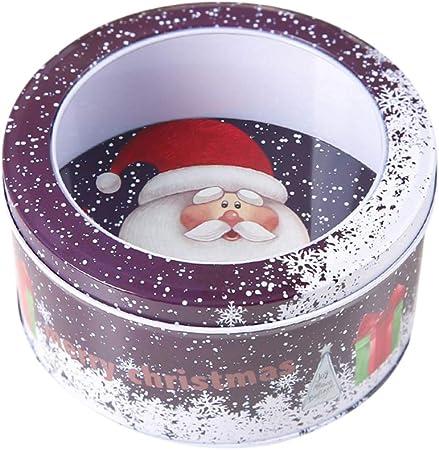 akaddy Caja de Dulces de Navidad Latas de Metal para Dulces Estuche de Almacenamiento Transparente Cajas Bolsas de Dulces de Kraft para Suministros de decoración de Navidad (Morado): Amazon.es: Hogar