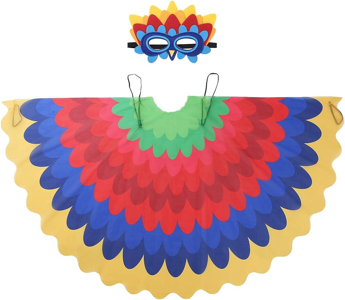 MSemis Disfraz Infantil Loro Orgullo Niñas Alas de Pajaros Niños Alas Tela Ligera con Máscara de Pajaros Fiesta Disfraces Accesorios Juquetes Infantiles