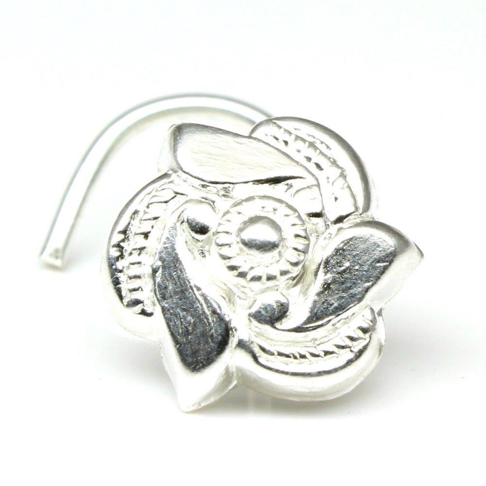 Silver Nose Stud, spiral corkscrew piercing nose ring L Bend 22g