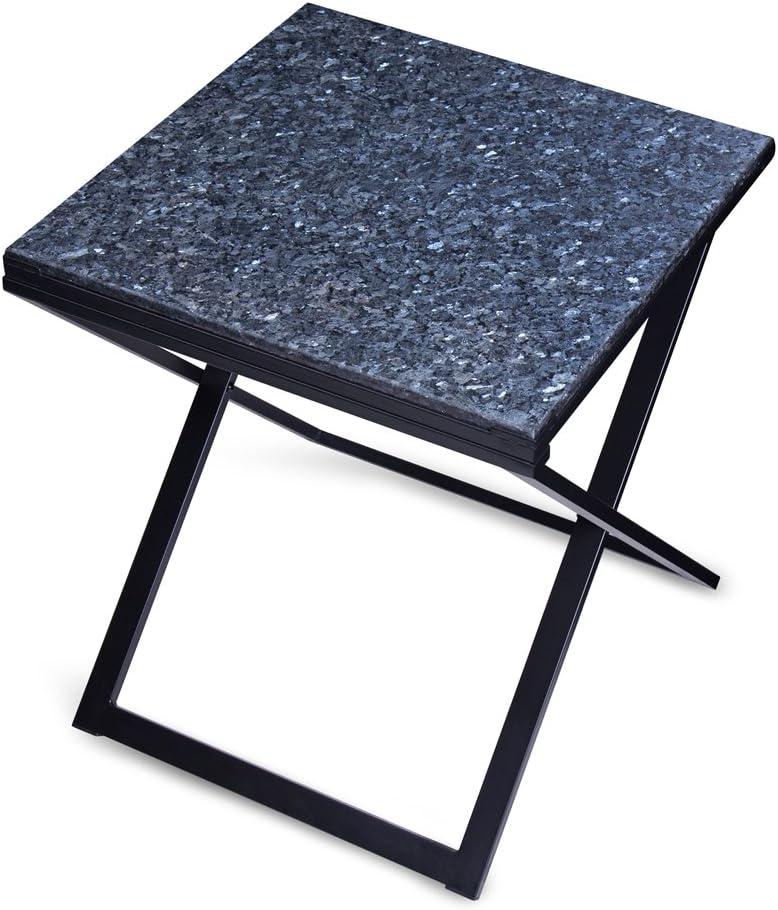 Amazon Com Olee Sleep Pearl Granite Top Dura Metal Frame Coffee Table End Table Side Table Soild Wood Blue Black Furniture Decor