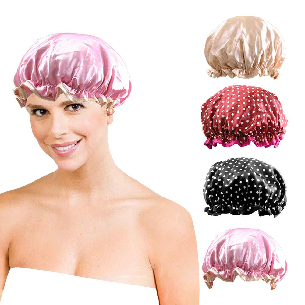 4 Pack Women\'s Shower Hats, Waterproof Shower Caps, Double Layer Elastic Band Fashionable Bath Cap for Salon Spa Shower