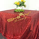ShinyBeauty 60inx102in Sequin Tablecloth For Wedding/Party- (Shiny Red #14)