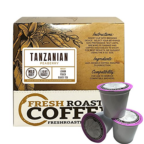 Tanzanian Peaberry Single-Serve Coffee Pods, 18 Capsules for Keurig K-Cup Brewers, Fresh Roasted Coffee LLC. (18 Count)
