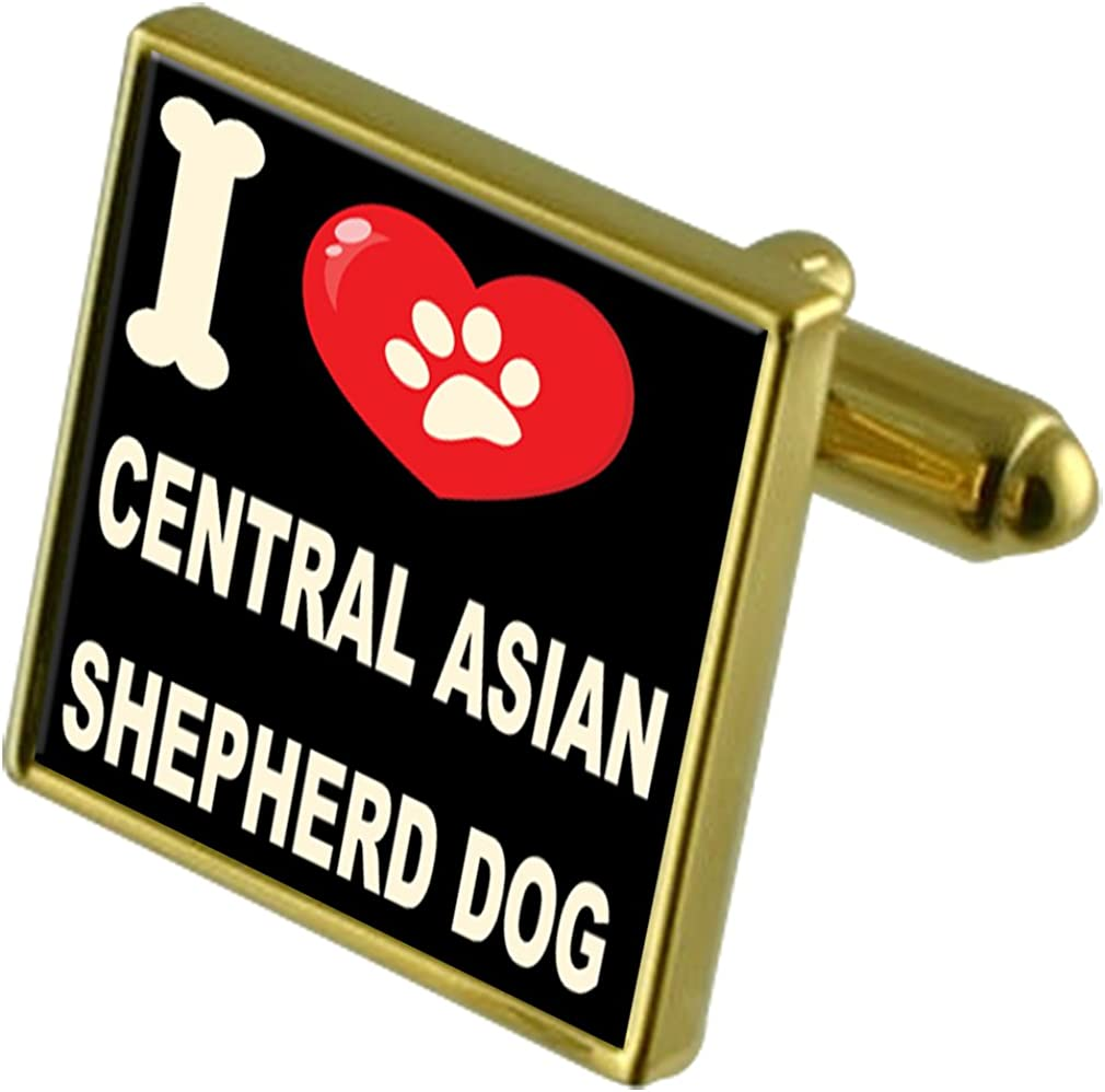 Select Gifts I Love My Dog Gold-Tone Cufflinks /& Money Clip Central Asian Shepherd