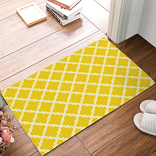 SIMIGREE 18 x 30 Inch Modern Yellow and White Lattice Door Mats Kitchen Floor Bath Entrance Rug Mat Absorbent Indoor Bathroom Decor Doormats Rubber Non Slip
