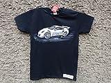 Classic Porsche 911 GT3 RS, Mens Car T-shirt,Original Painting T-shirt, A Black Shirt with White Porsche, Shirt ''Fruit of the Loom'', size L.