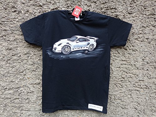 Classic Porsche 911 GT3 RS, Mens Car T-shirt,Original Painting T-shirt, A Black Shirt with White Porsche, Shirt ''Fruit of the Loom'', size L. by Netissimo
