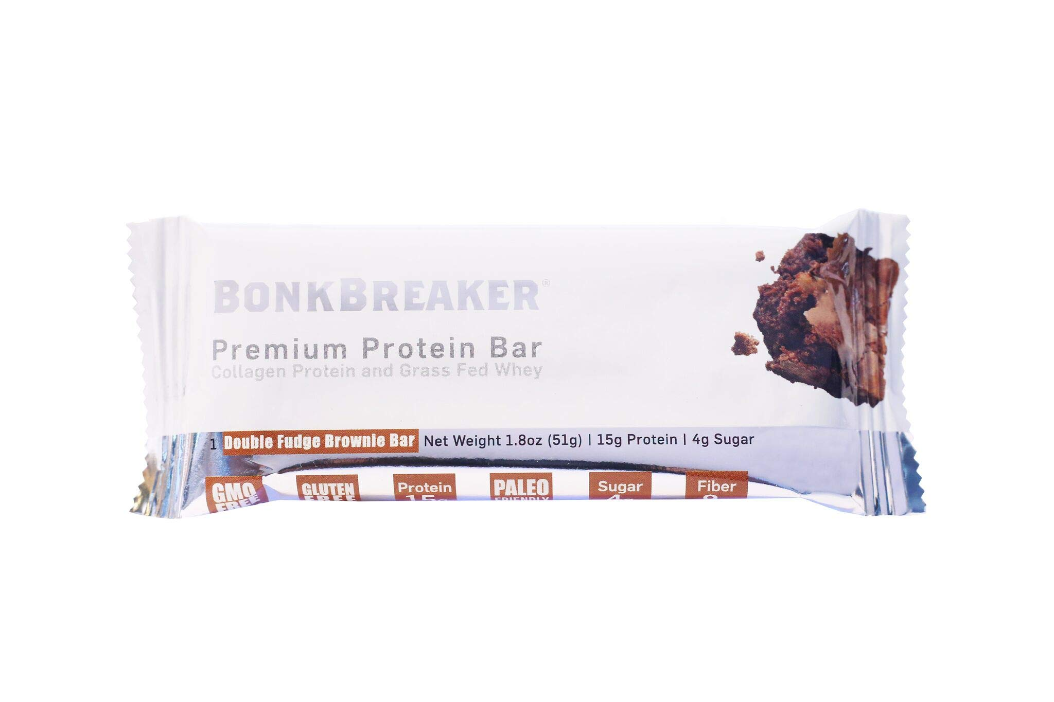 Bonk Breaker Collagen Protein Bar, Double Fudge Brownie, 1.8 Oz (12 Count), Gluten Free & All Natural Sweeteners
