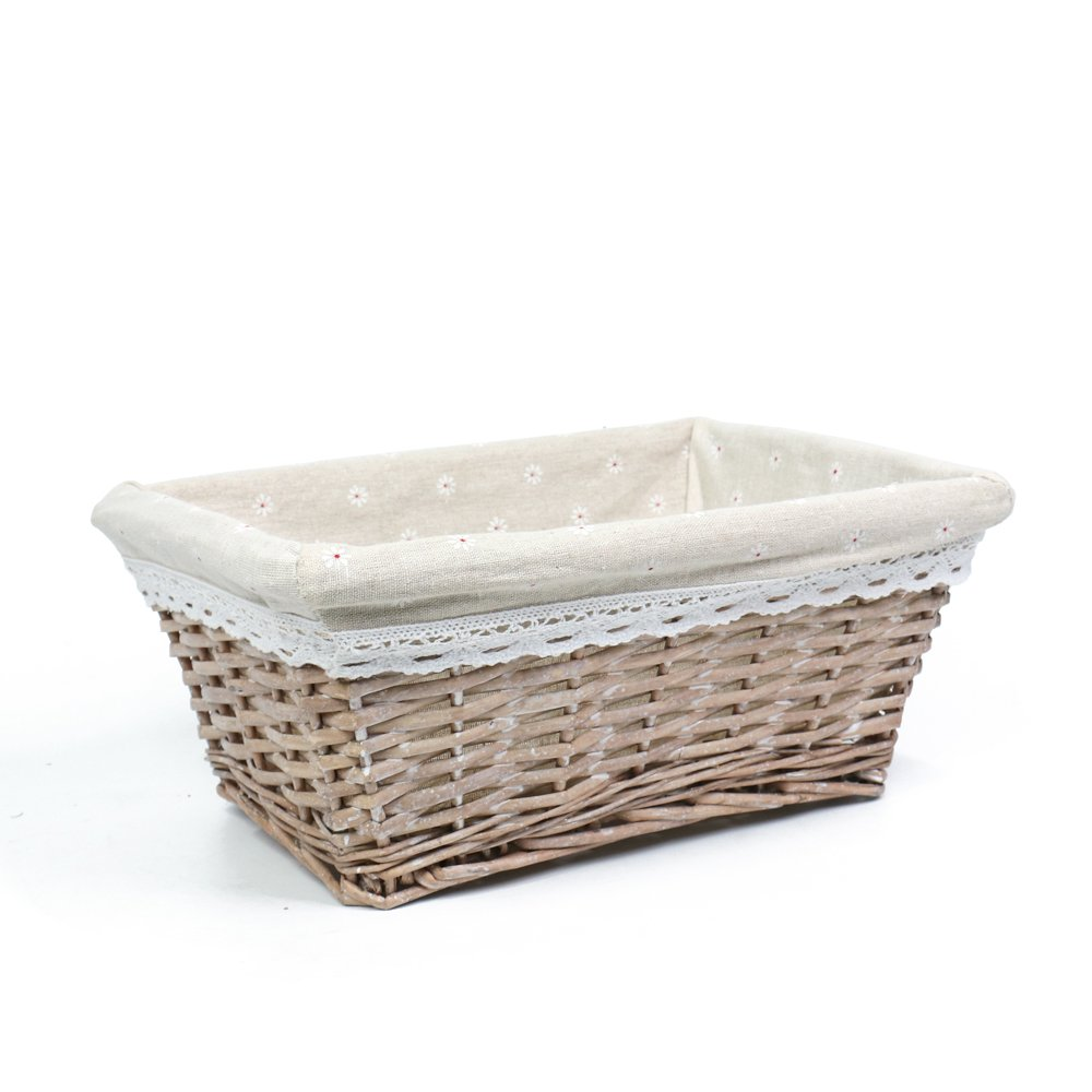 MEIEM Handmade Woven Wicker Storage Basket with Liner.Storage containers.Home Storage Bins for Toys Laundry Clothing Sundries Neatening (Large,Grey)