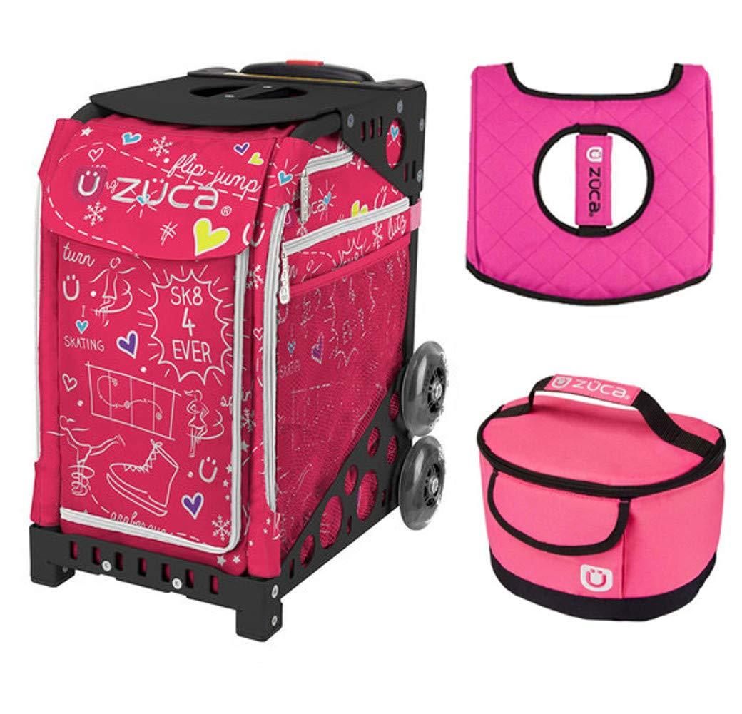 Zuca スポーツバッグ - Sk8 ピンク ギフト付き ホットピンク/ブラック シートカバー ピンクランチボックス(ピンクフレーム)