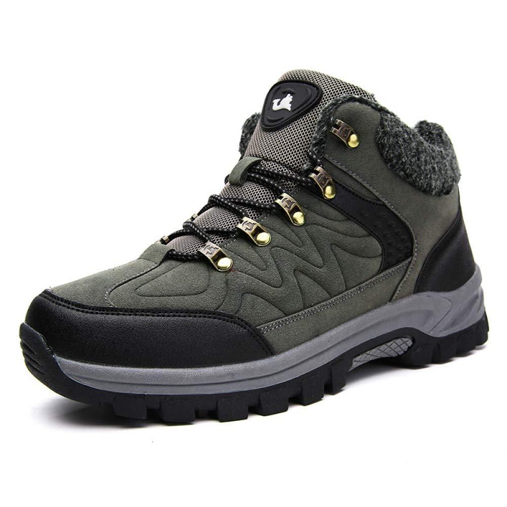 DZX Herren Winter Outdoor Schnee Stiefel Wanderschuhe/Wasserdichte Stiefel, Walking Lace Up Anti-Slip Atmungsaktive Trekking-Schuhe,Grau-44