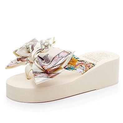 Frauen Neue Sandalen Keilabsatz Flip-Flops Sommer Rutschfeste Sandalen Blumen Strandschuhe Frische Frauen Flossen Mädchenhafte Sandalen mit Einer Höhe 5 5 cm,G-36