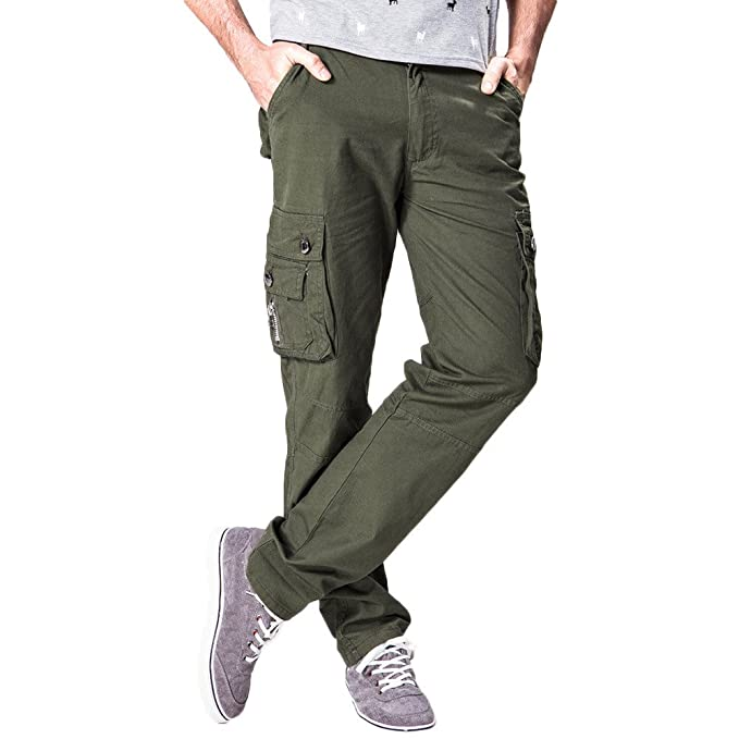 5186ed4423f3 feiXIANG Uomo Pantaloni Pantaloni Tuta Uomo Cerniera Pantalone Lungo Jeans  in Tinta Unita con Tasca più Casual