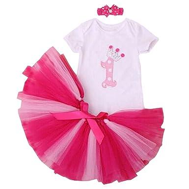 8b51cdc34 BabyPreg 3PCS Baby Girl's 1st Birthday Onesie Tutu Dress with Headband:  Amazon.co.uk: Clothing
