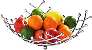 Fruit Basket Countertop Fruit Bowl Holder & Decorative Bowl Stand, Perfect for Fruit, Vegetables, Snacks, Household Items, and Much More 1 Pack(Silver)