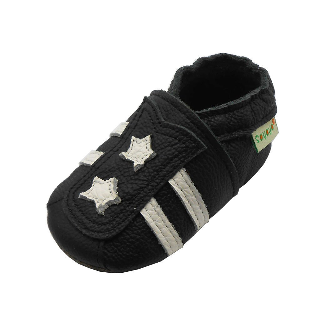 Sayoyo Baby Stars Soft Sole Leather Infant Toddler Prewalker Shoes … Black A1122-CA