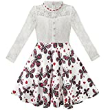KD72 Girls Dress Lace Pearl Plum Blossom Elegant Princess Dress Age 8 Years