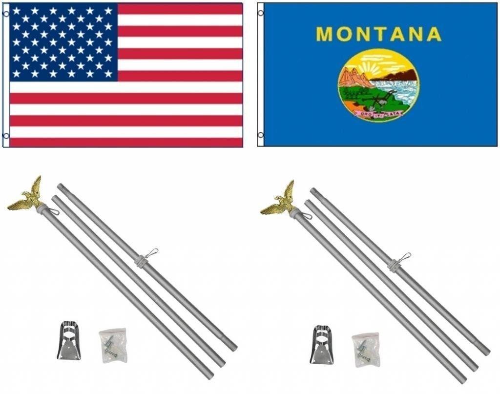 スペシャルオファ 3 x 5 3 ' x5 ' x USA USA ' American W/モンタナ州の状態フラグW/2つ6 'アルミニウム旗竿ポールキットボールトッパー B01N30K2U1, シラヌカグン:b9f34363 --- e-retailmart.com