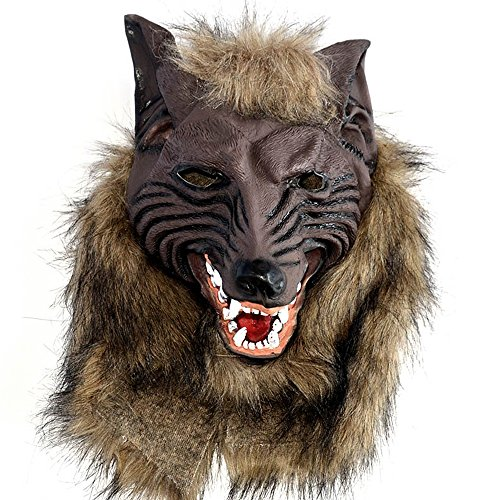 IRQ Latex Halloween Wolf Masks Cosplay or Masquerade Costume Party Scary Werewolf Mask with Hair for Adults Kids -