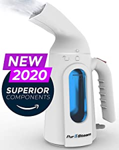 PurSteam Handheld Steamer for Clothes - Portable Garment Wrinkle Remover, Perfect for sterilizing and disinfecting - Fast Heating, Auto Shut Off and Leak Proof Design [Upgraded Version]
