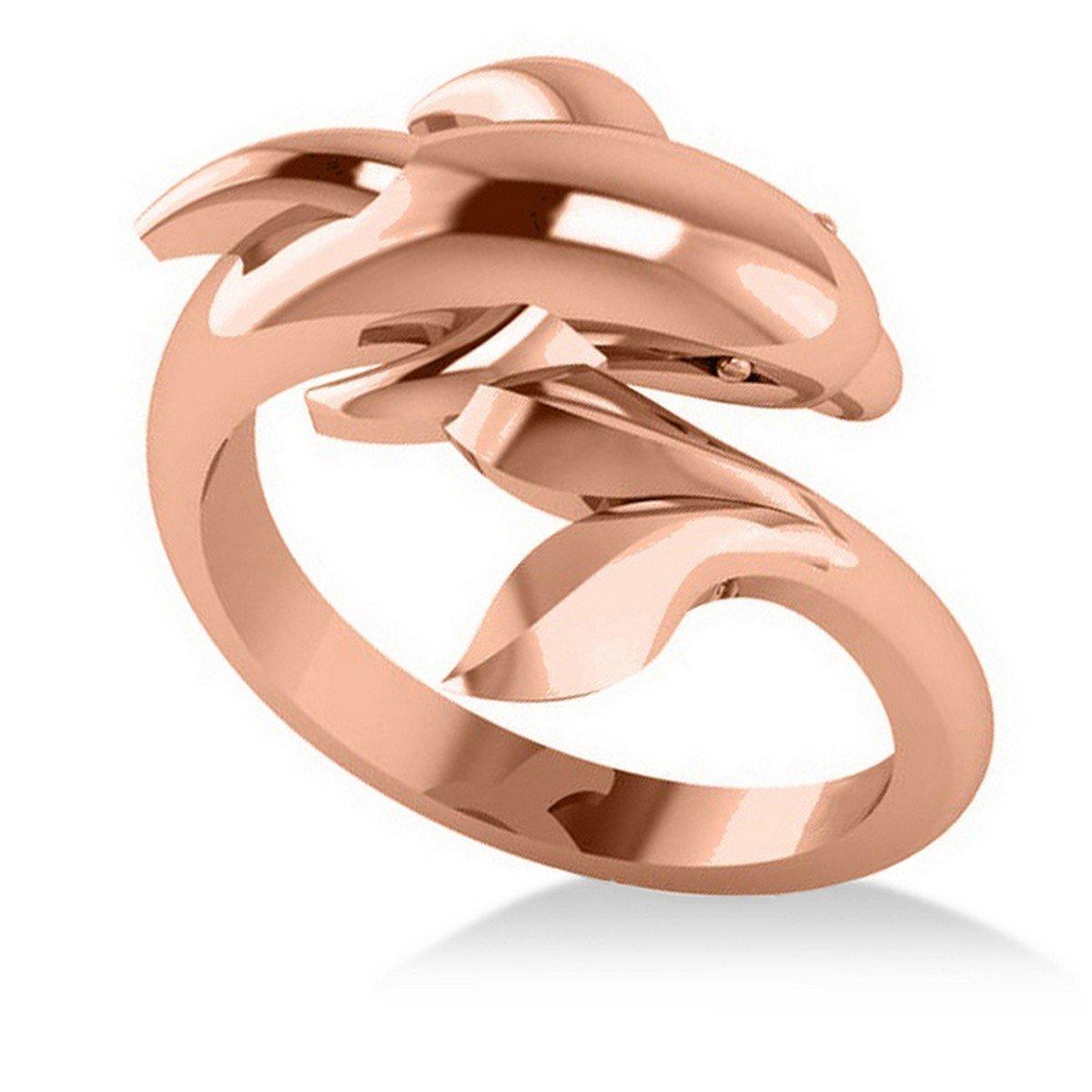 Allurez Summertime Dolphin Fashion Ring 14k Rose Gold