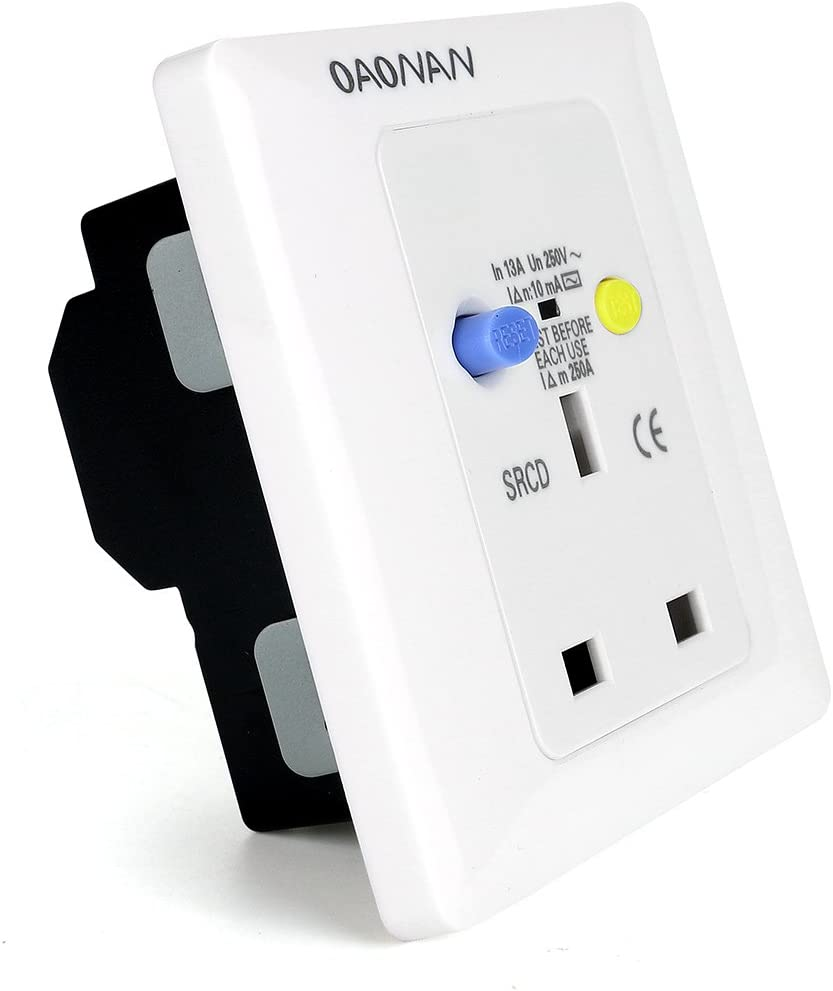 White OAONAN Safety RCD Wall Socket UK British Socket 13 AMP for Home Building Garage and Replace Wall Socket