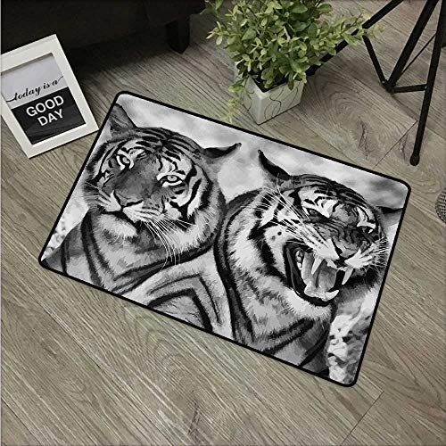 HRoomDecor Safari,Kitchen Floor mats Cat Expression Opposite Images Fearsome Teeth Mirror Angry Intense Wildlife W 24