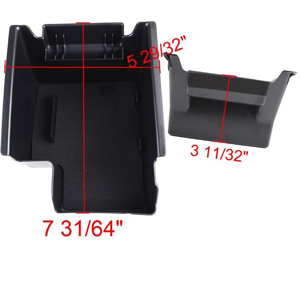 Poweka Black Durable Rubber Arm Rest Secondary Storage Box Tray Center Console for 13 14 15 16 Ford Escape Kuga