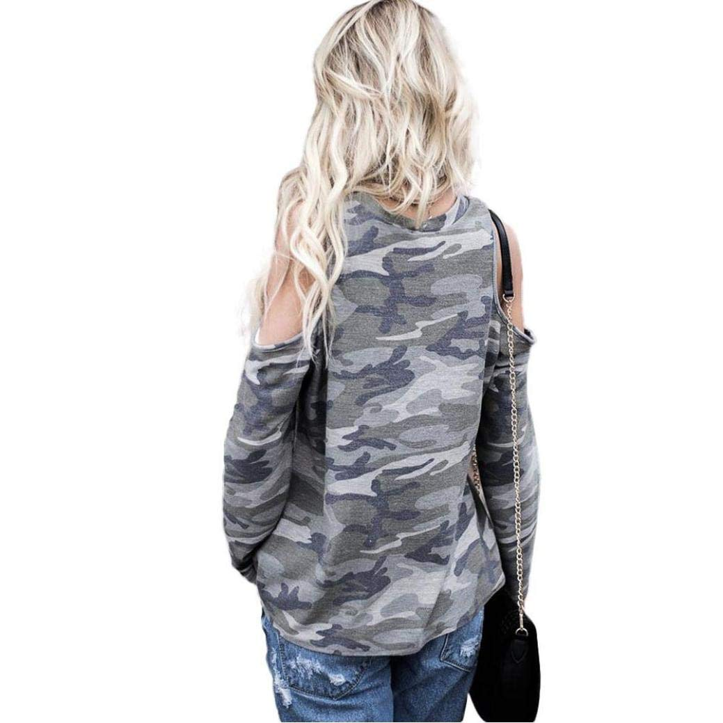 Amazon.com: VESNIBA Women Off Shoulder Camouflage Long Sleeve Blouse Tops T-Shirt: Clothing