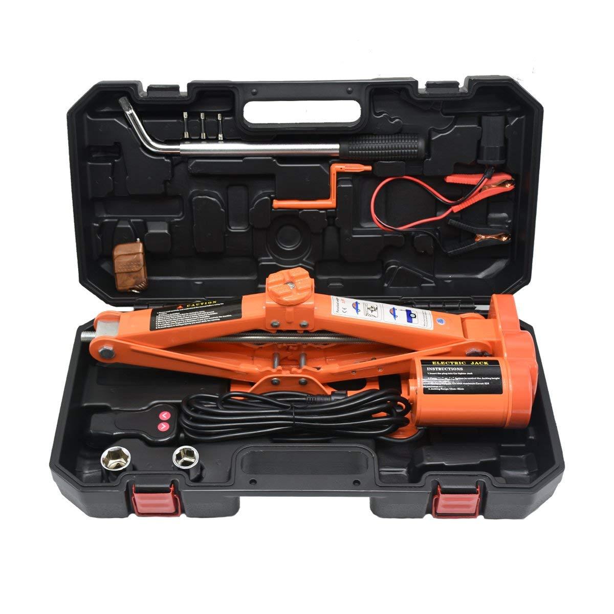 MoGlory Coche el/éctrico Scissor Jack para 12V DC 3.0T con llave de tuerca de la rueda 6600lb
