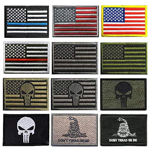 (KISEER 12 Pieces US Flag Patch American Flag Punisher Velcro Patches Badges, Don't Tread On Me Fully Embroidered Tactical Military Morale Patches Set)