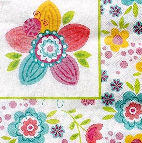 Spring Fling 2-ply Paper Luncheon Napkins - Floral Ladybug 20 ct