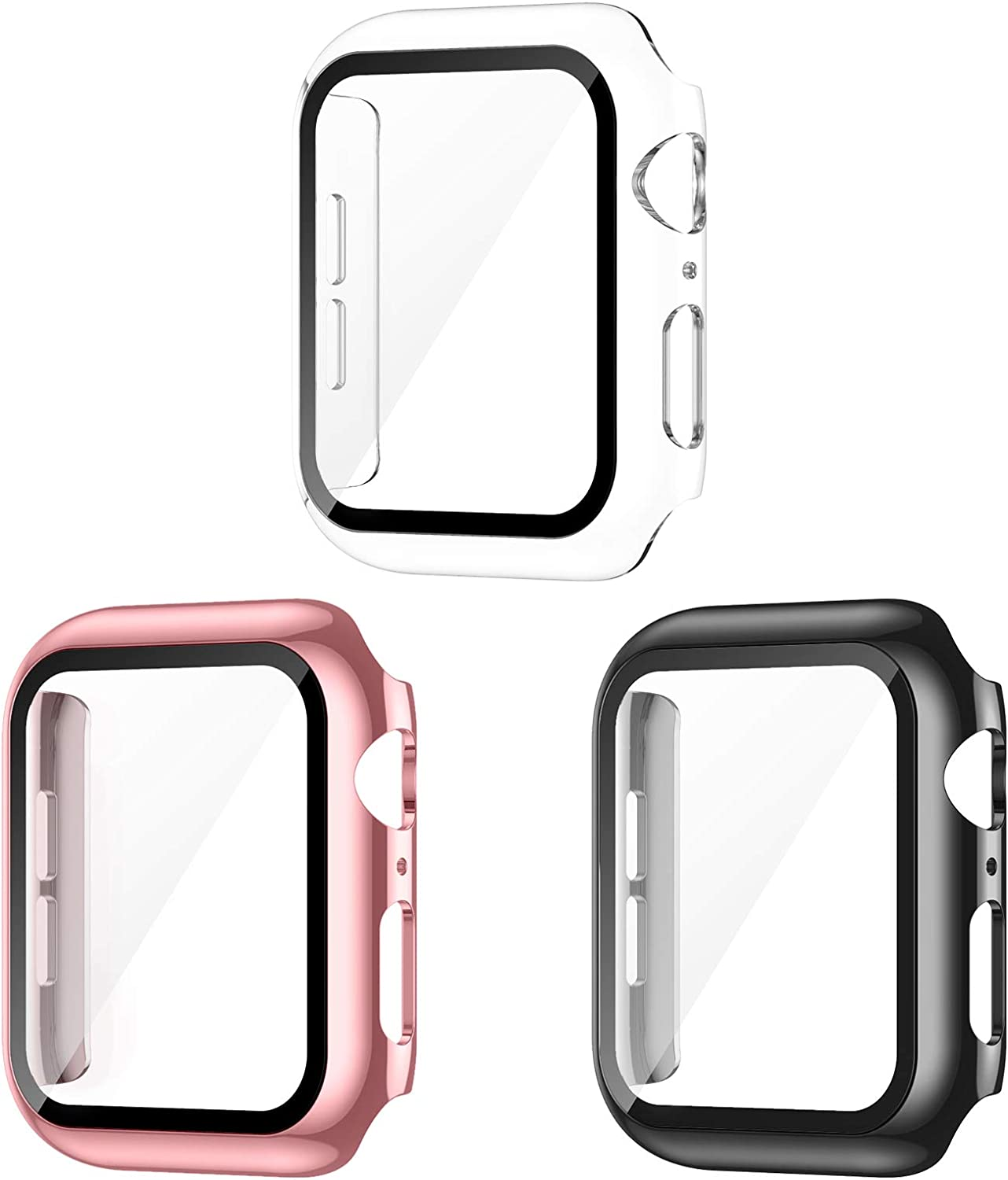 AVIDDA 3 Pack Case with Tempered Glass Screen Protector for Apple Watch 44mm Series 6/5/4/SE, Slim Guard Bumper Full Coverage HD Ultra-Thin Cover Compatible with iWatch 44mm