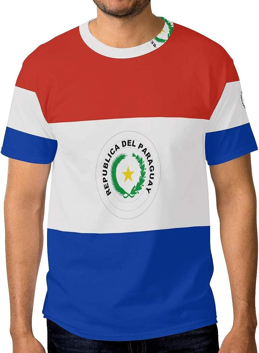 FANTAZIO - Camiseta de manga corta para hombre, diseño de bandera de Paraguay: Amazon.es: Ropa y accesorios