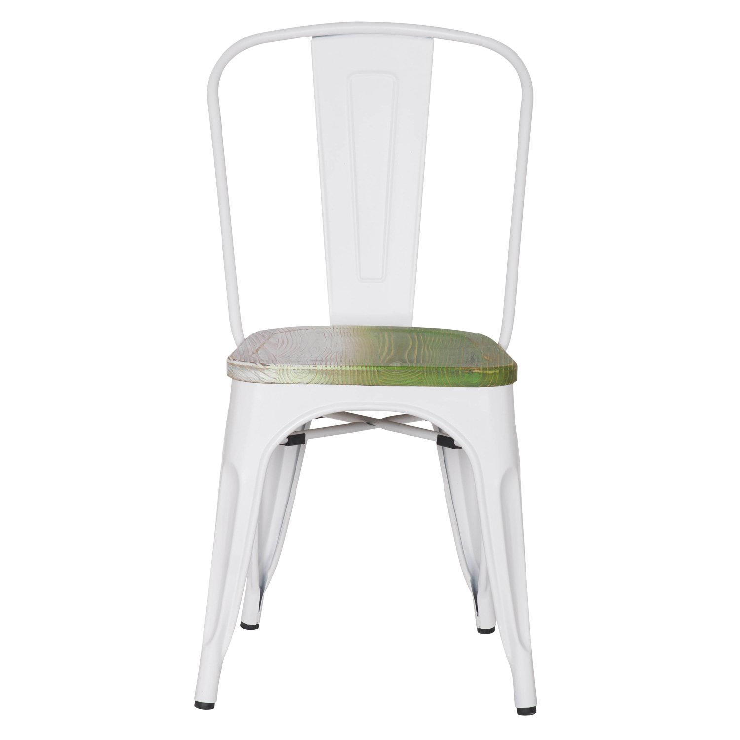 Asense Tolix Style Steel Dining Chair with Green Wooden Seat, Frosted White Color, Height 33 Inches , Set of 2