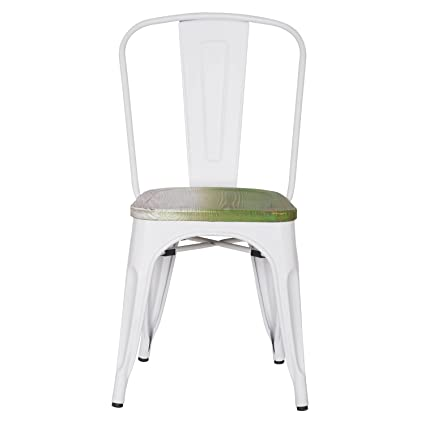 Asense Tolix Style Steel Dining Chair With Green Wooden Seat, Frosted White  Color, Height