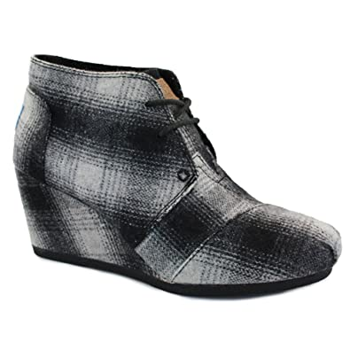 c0d8e103f1a7 Toms Desert Wedges Womens Laced Wool Wedges Grey Plaid - 6  Amazon.co.uk   Shoes   Bags