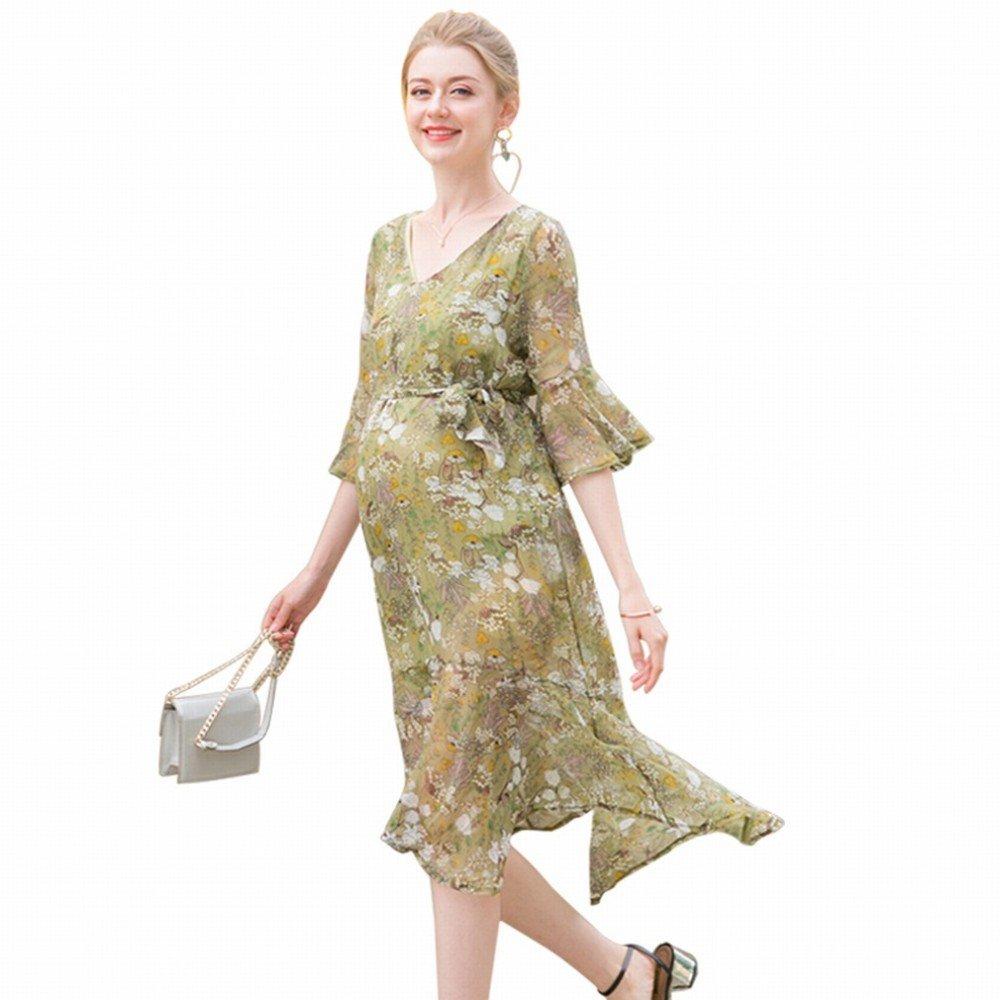ZH 2018 Vestidos para mujeres embarazadas, gasa de verano Suelta manga de campana, MOM de moda Maternidad de verano larga: Amazon.es: Deportes y aire libre