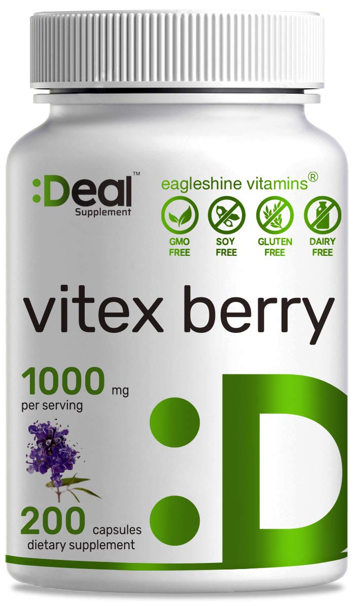 Deal Supplement Vitex Chasteberry Extract 1000mg, 200 Capsules - Supports Hormone Balance for Women, Fertility, PMS Symptoms & Menopause
