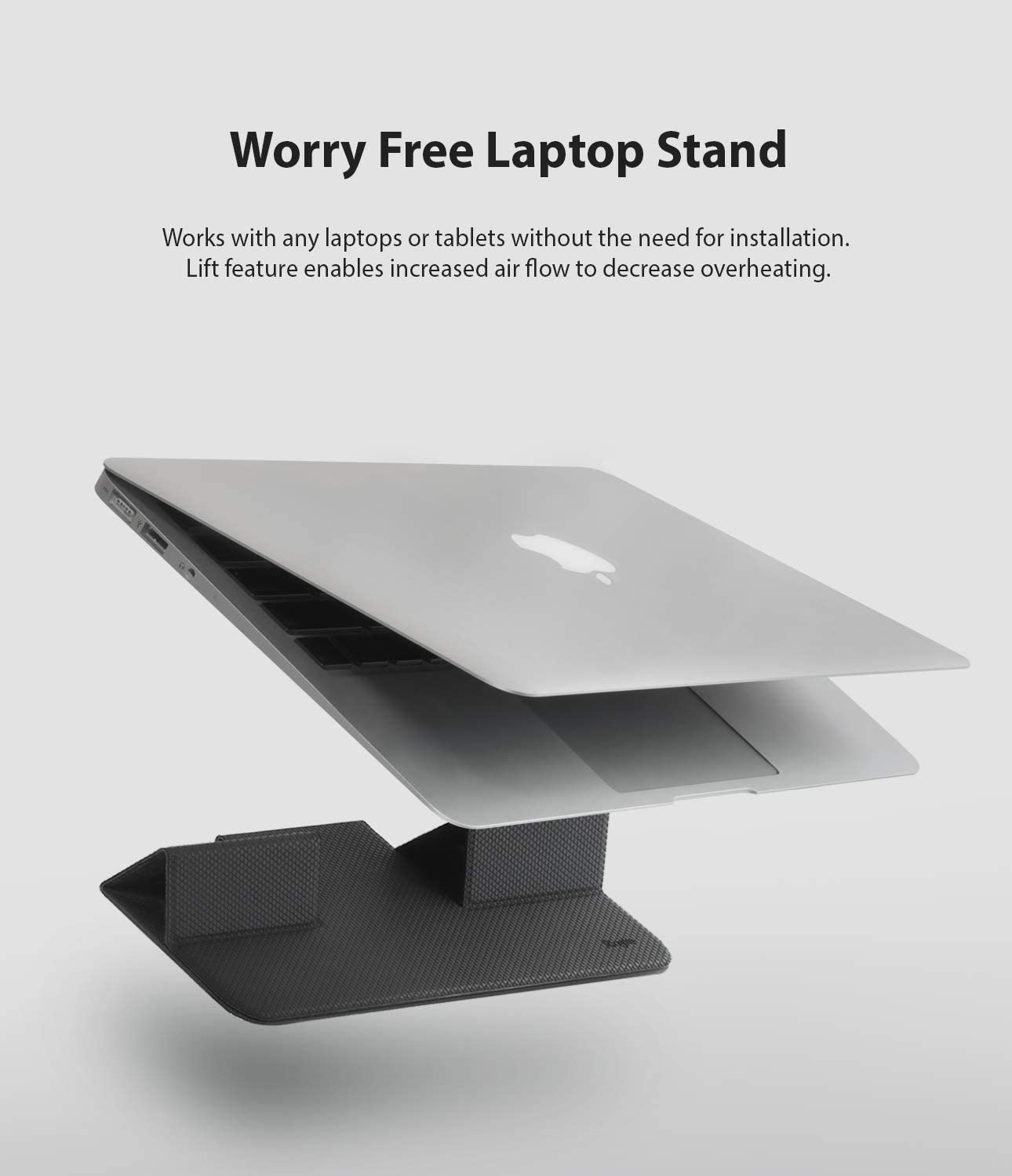 Portable and Foldable Invisible Laptop Stand for Desktop MacBook Notebook Computer iPad Tablet Gray Ringke Folding Stand 2
